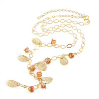 Gold  Leaf Crystal Necklace