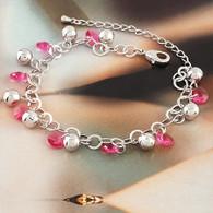 Rhodium Plated Pink Crystal Charm Bracelet