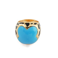 Gold Blue Dalmatian Ring