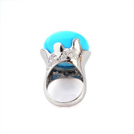 Silver Blue Crown Ring