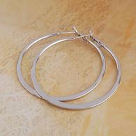 Silver Flat Hoops