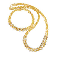 Gold Woven Necklace Set
