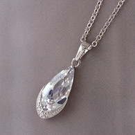 Silver Oblong Crystal Pendant Necklace