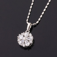 Silver Little Flower Pendant Necklace