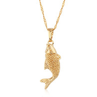 Gold Fish Pendant Necklace