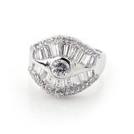 Silver Baguette Crystal Ring