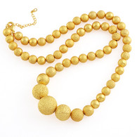 Gold Frosted Graduated Bead Necklace