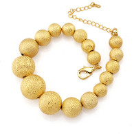 Gold Frosted Graduated Bead Bracelet