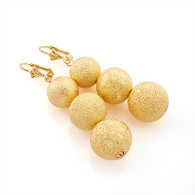 Gold Frosted Graduated Bead Earrings