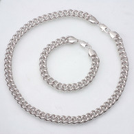 Silver Curb Necklace Set