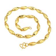 Patterned Oblong Gold Necklace