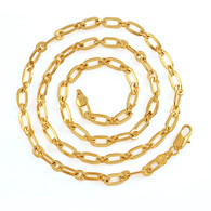 Gold Interlocking Oblong Style Chain