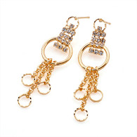 Gold Circles Crystal Earring