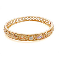 Gold Crystal Engraved Bangle