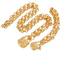 Gold Padlock Necklace Set
