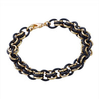 Gold and Black Link Bracelet