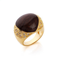 Gold Oval Enamel Ring