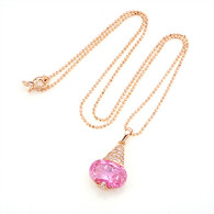 Elegant Gold Pink Crystal Necklace