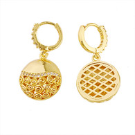 Round Crystal Gold Earring