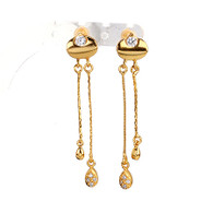Gold Crystal Dangling Earrings