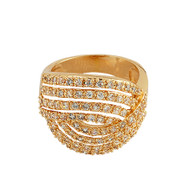 Exquisite Pave Gold Swirl Ring