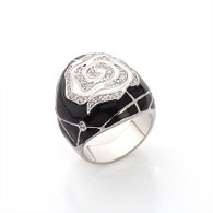 Silver and Enamel Swirl Ring