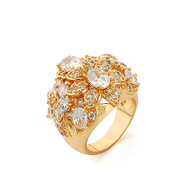 Gold Flower Cluster Ring