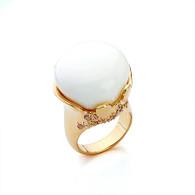 Gold White Crown Ring