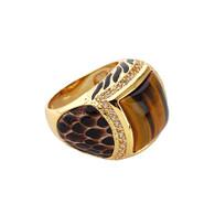 Gold Snake Amber Ring