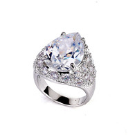 Rhodium Embellished Crystal Ring