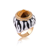 Bold Gold Crystal Stripe Ring