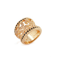 Gold and Black Crystal Ring