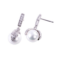 Pearl Earrings with Crystal Leaf Design