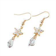 Swarovski Crystal and Flower Drop Earrings