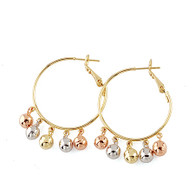 Hoop Earrings with Glittering Color Balls