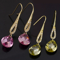 Gold Pink Quartz Set Earrings