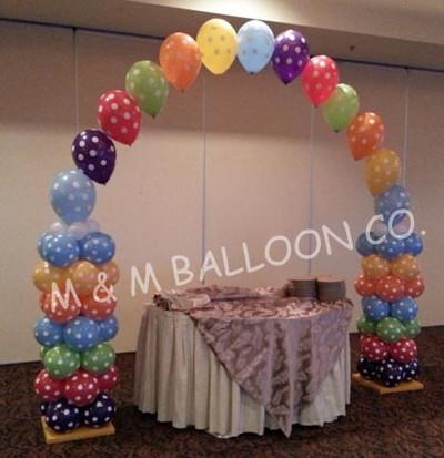 Stripe Pattern Column, Polka Dot Balloons
