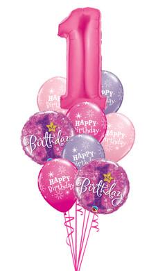 - 1st Birthday Girl Pink Stars Bouquet