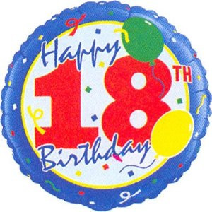 18th Birthday Balloons Confetti Round
