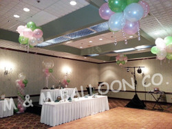 Ceiling Topiaries with Ribbons