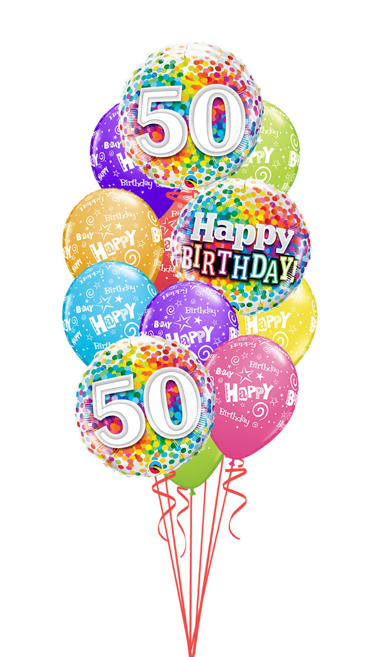 Rainbow Confetti 50th Birthday Bouquet 5000 Image 1