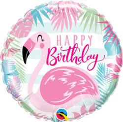 Flamingo Happy Birthday Round