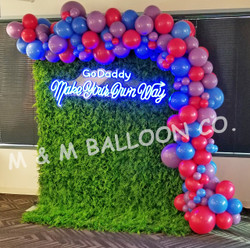 Organic Balloon Swag attached to Backdrop
