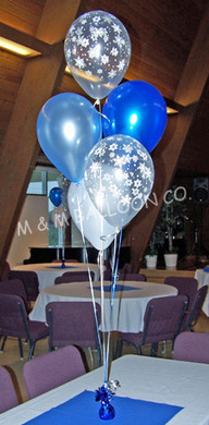5 Balloon Centerpiece, using Pearlized and Printed Clear Latex, tied to a Foil Weight.