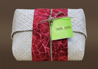Pandanus Clutch Wrapped in Hand Printed Fabric with 1 lb of Cashews