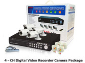 4 ChannelCCTV Security System with 4 Weatherproof Night vision IR Cameras Package