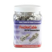 Five Star Cable Professional Grade BNC Twist-On Male Connector. Pack of 100 pcs in Grip Jar