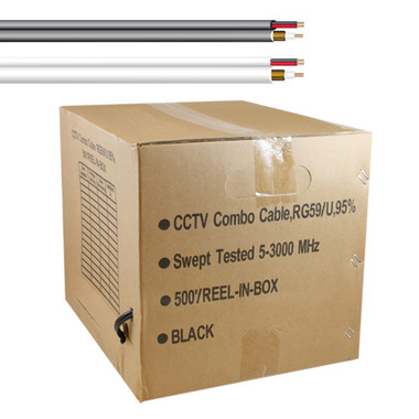 5 Star Cable 500 ft. RG59 Siamese CCTV Combo Coaxial Cable Black