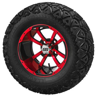 "23 x 10.50-12 Black Trail on ""Type 7"" Black/Red Wheel"