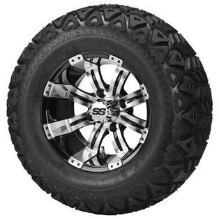 "23 x 10.50-12 Black Trail on ""Type 9"" Machined/Black Wheel"
